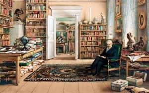 Alexandras von Humboldtas savo bibliotekoje, Eduard Hildebrandt piešinys 1856 m.